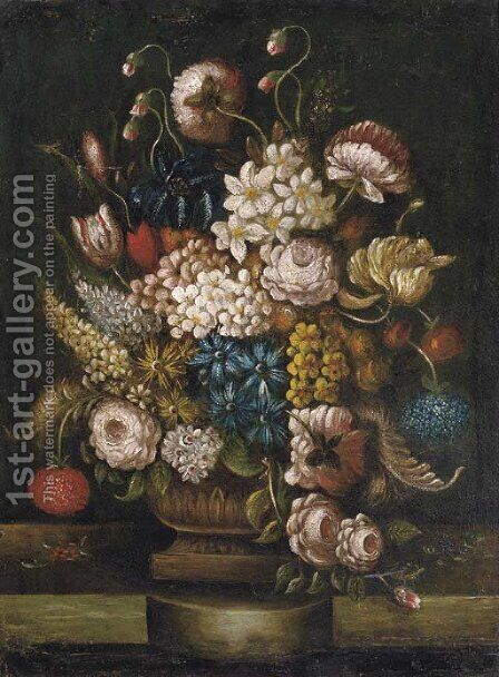 Tulips, roses, lilac, peonies and other flowers in an urn, standing on a ledge by Dutch School - Reproduction Oil Painting