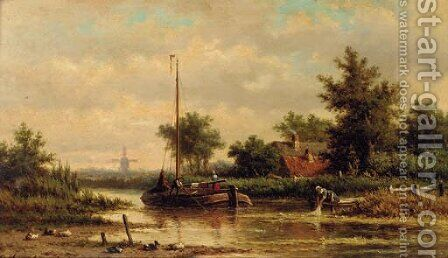 A barge travelling downstream by Dutch School - Reproduction Oil Painting