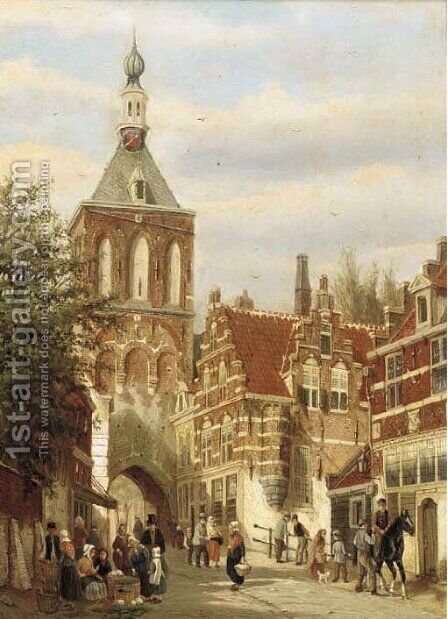 A Dutch street market by Dutch School - Reproduction Oil Painting