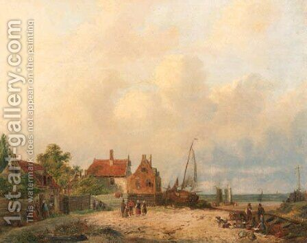 A fishing-village by Dutch School - Reproduction Oil Painting