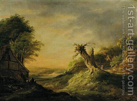 A figure setting off from a cottage carrying two pails by Dutch School - Reproduction Oil Painting
