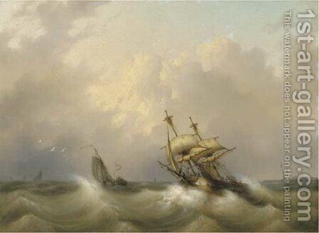 A two-master on choppy water by Dutch School - Reproduction Oil Painting