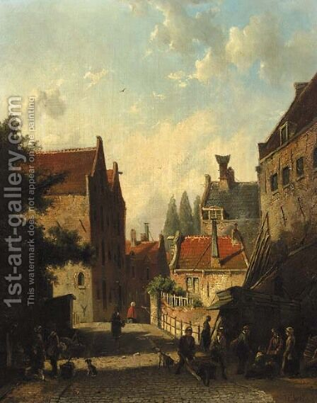 A view in a city with townsfolk conversing in the street by Dutch School - Reproduction Oil Painting