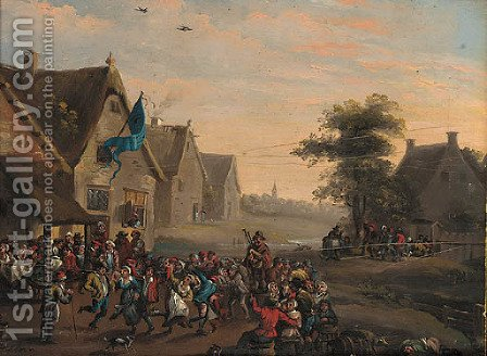 A village festival by a tavern by Dutch School - Reproduction Oil Painting