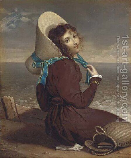A young lady seated on a beach by Dutch School - Reproduction Oil Painting