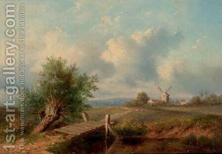 An extensive landscape with a windmill by Dutch School - Reproduction Oil Painting