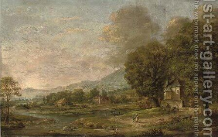 An extensive wooded river landscape with figures in the foreground by Dutch School - Reproduction Oil Painting
