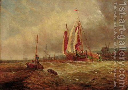 Barges in a swell, a harbour beyond by Dutch School - Reproduction Oil Painting