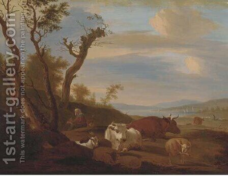 Cattle, sheep and goats with a herder in a landscape, the coast beyond by Dutch School - Reproduction Oil Painting