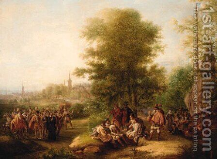 Cavaliers Conversing In A Woodland Landscape by Dutch School - Reproduction Oil Painting