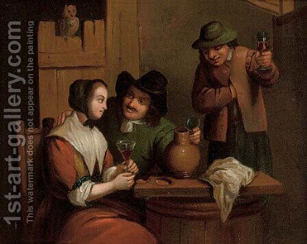 Courtship in a tavern and Drinking in a tavern by Dutch School - Reproduction Oil Painting