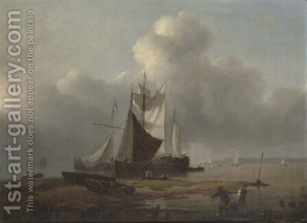 Dutch barges drying their sails at the end of the day by Dutch School - Reproduction Oil Painting