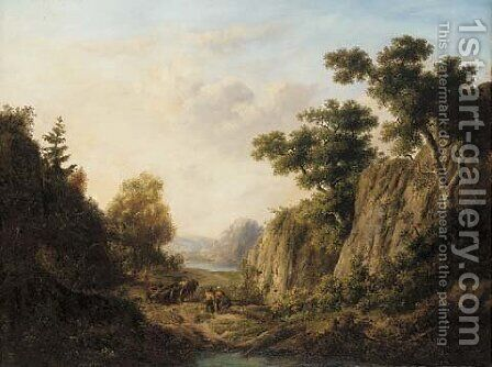 Felling trees in a rocky gorge by Dutch School - Reproduction Oil Painting