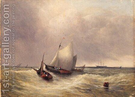 Shipping in a Swell by Dutch School - Reproduction Oil Painting