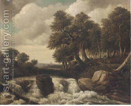 Figures in a woodland landscape by a waterfall by Dutch School - Reproduction Oil Painting