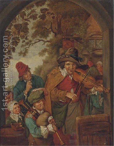 Figures in an archway by Dutch School - Reproduction Oil Painting