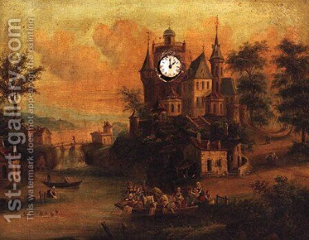 Figures On A Ferry With A Chateau Beyond, A Clock Picture by Dutch School - Reproduction Oil Painting