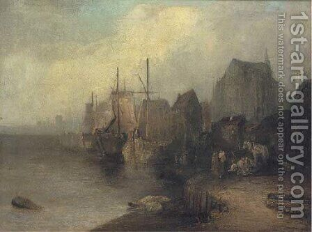 Fishing vessels moored off a coastal town by Dutch School - Reproduction Oil Painting