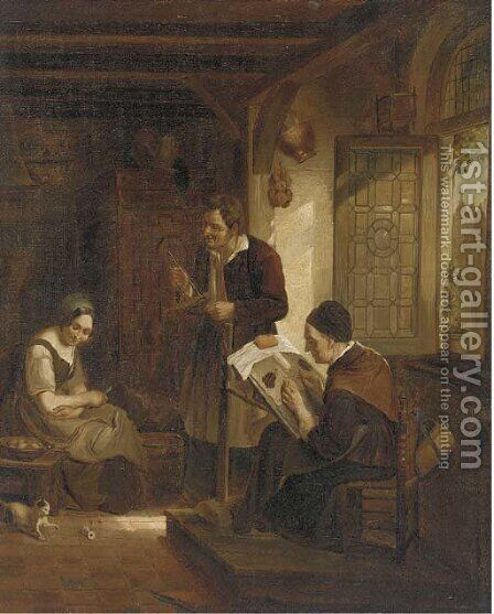 Peasants in a kitchen interior by Dutch School - Reproduction Oil Painting