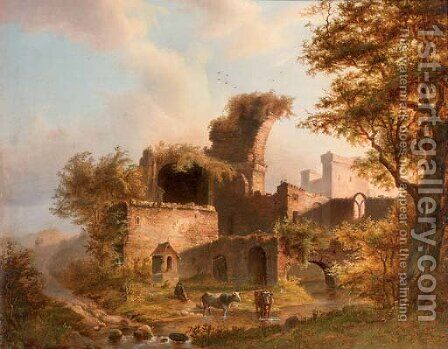 Resting by a ruin by Dutch School - Reproduction Oil Painting