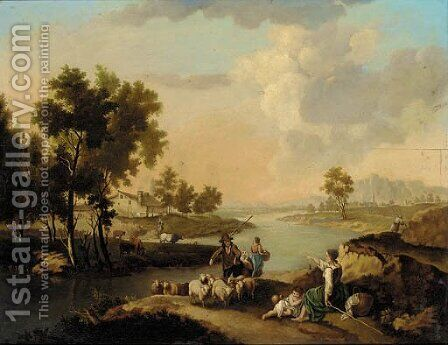 Shepherds with their flock by a river, a farmstead beyond by Dutch School - Reproduction Oil Painting