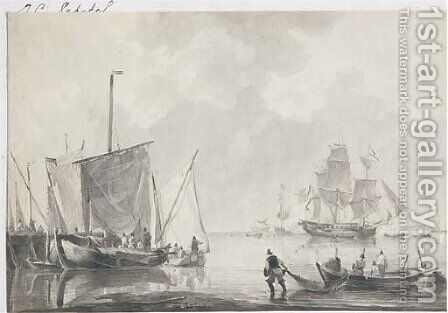 Ships in an estuary by Dutch School - Reproduction Oil Painting