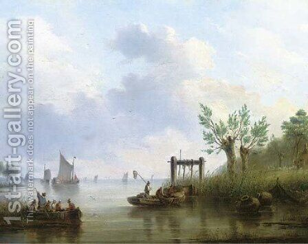 Summer on a river landscape by Dutch School - Reproduction Oil Painting