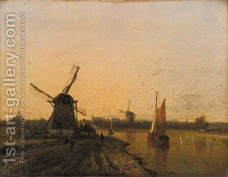 Windmills in a riverlandscape at dusk by Dutch School - Reproduction Oil Painting