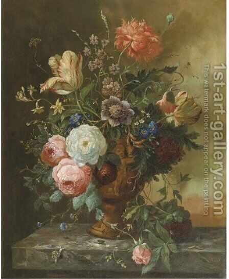 A beautiful bouquet by Dutch School - Reproduction Oil Painting
