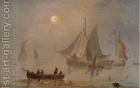 Shipping in a calm, moonlight (illustrated); and Shipping in a swell by moonlight by Dutch School - Reproduction Oil Painting