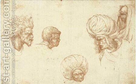Five head studies, after Ludovico Mazzolino by Dutch School - Reproduction Oil Painting