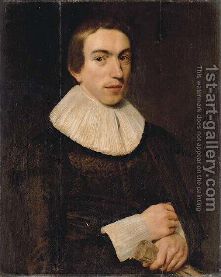 Portrait of a gentlemen, aged 18 by Dutch School - Reproduction Oil Painting