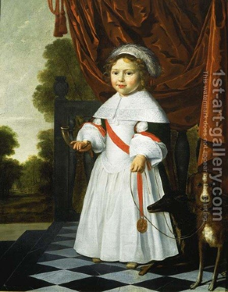 Portrait of a young boy by Dutch School - Reproduction Oil Painting
