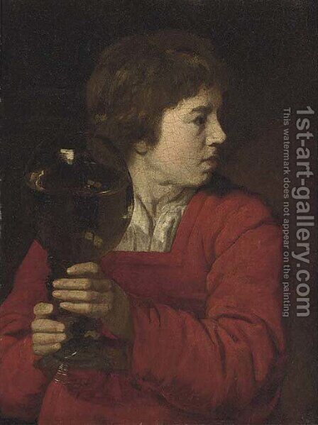 A young boy holding a giant roemer of wine by Dutch School - Reproduction Oil Painting