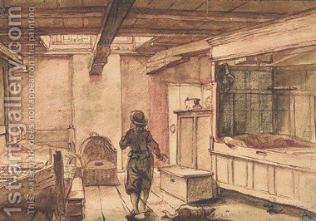 An interior with a standing figure seen from behind, a bed to the left by Dutch School - Reproduction Oil Painting