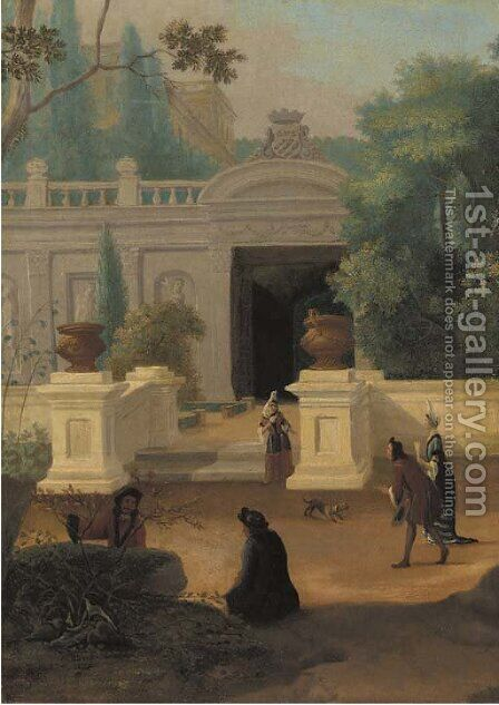 Elegant company promenading in a walled garden near a mansion by Dutch School - Reproduction Oil Painting