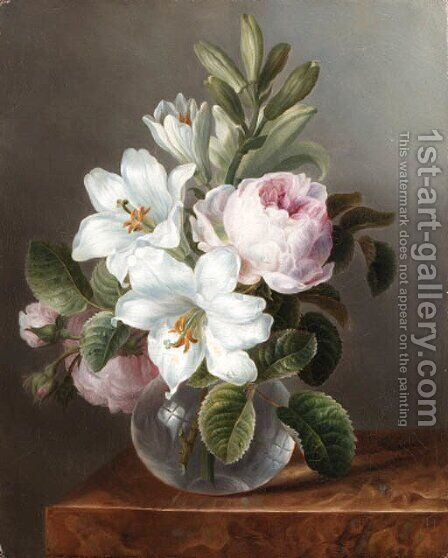 Roses and Lilies in a glass Vase by Dutch School - Reproduction Oil Painting