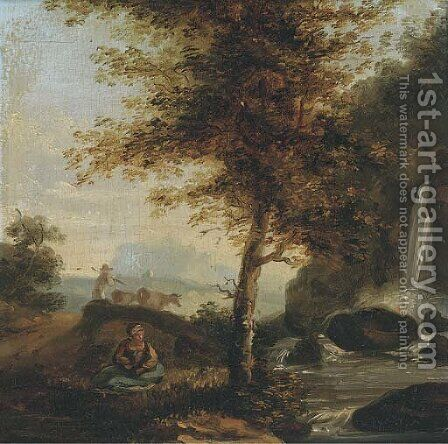 Figure by a waterfall with a drover and cattle beyond by Dutch School - Reproduction Oil Painting