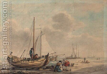 Fisherfolk with their boats on the beach by Dutch School - Reproduction Oil Painting