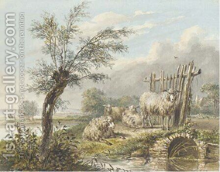 Four sheep by a stream in an extensive landscape by Dutch School - Reproduction Oil Painting