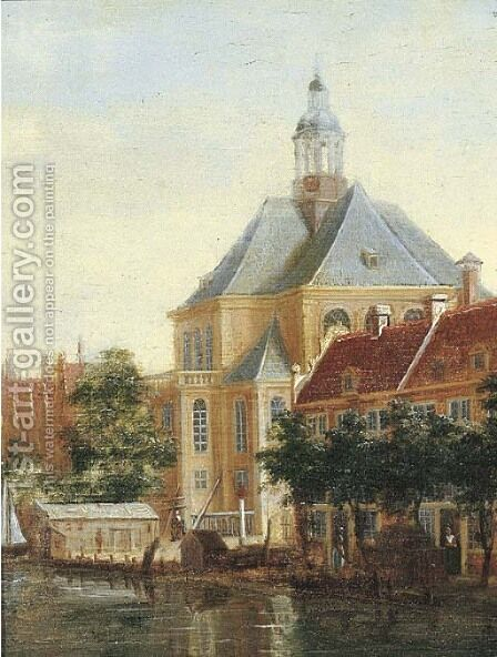 A view of the Wittenburgergracht with the Oosterkerk, Amsterdam by Dutch School - Reproduction Oil Painting