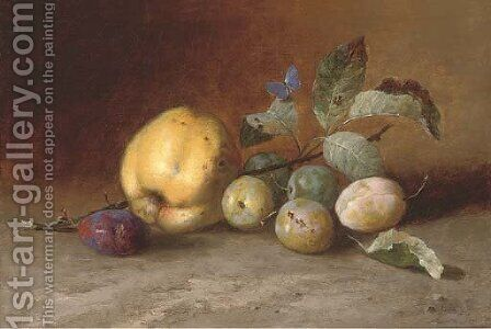 A cooking apple, plums and a butterfly by Dutch School - Reproduction Oil Painting