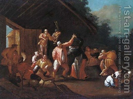 A village kermesse; and Peasants merry making in a barn by Dutch School - Reproduction Oil Painting