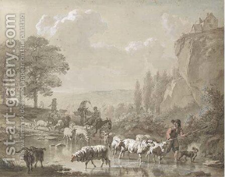 Peasants with their flocks fording a stream by Dutch School - Reproduction Oil Painting