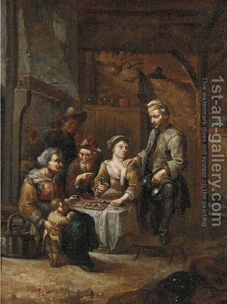 A Dutch family in a tavern by Dutch School - Reproduction Oil Painting