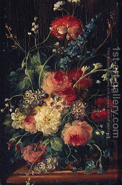 Roses, Delphiniums, Primulas And Narcissus In A Vase On A Ledge by Dutch School - Reproduction Oil Painting