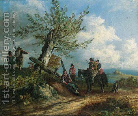 Travellers on a sandy track, in a mountainous landscape by Dutch School - Reproduction Oil Painting