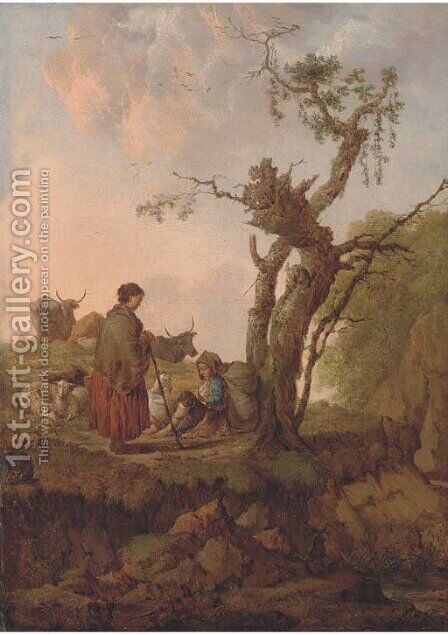 A river landscape with a shepherd and shepherdess and their flock resting by a tree by Dutch School - Reproduction Oil Painting
