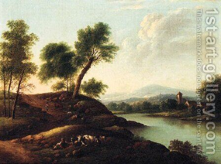 Herdsmen resting with their Herds in a mountainous River Landscape by Dutch School - Reproduction Oil Painting