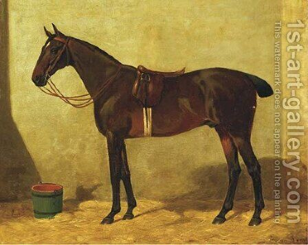 A stallion in the stable by Dutch School - Reproduction Oil Painting